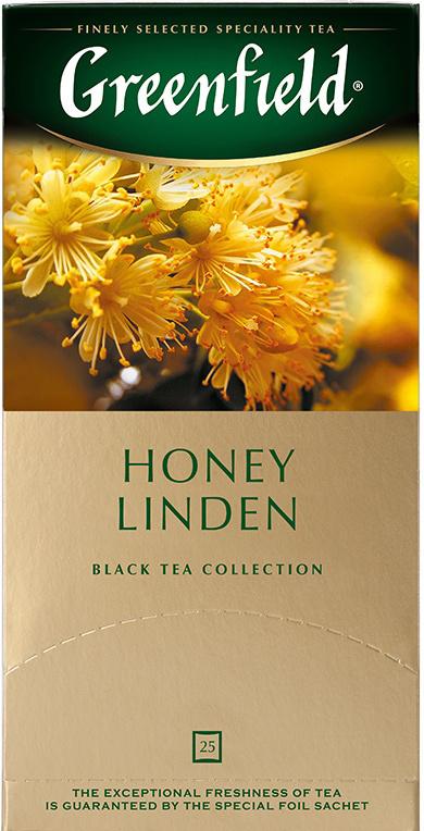 Черный чай в пакетиках Greenfield Honey Linden с липой и медом, 25 шт  #1