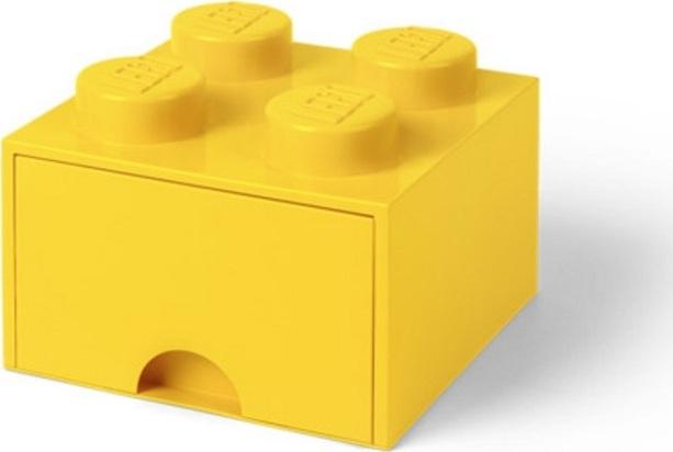 Ящик для хранения 4 выдвижной LEGO желтый