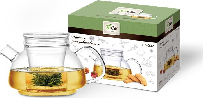 Чайник для заваривания TECO 1000 мл из стекла c ситом и крышкой