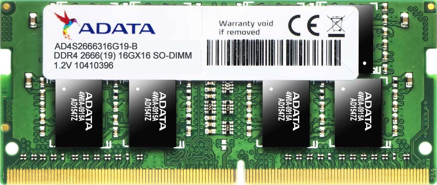 Оперативная память ADATA 16GB DDR4 2666 SO DIMM AD4S2666316G19-S Non-ECC, CL19, 1.2V, 1024x8