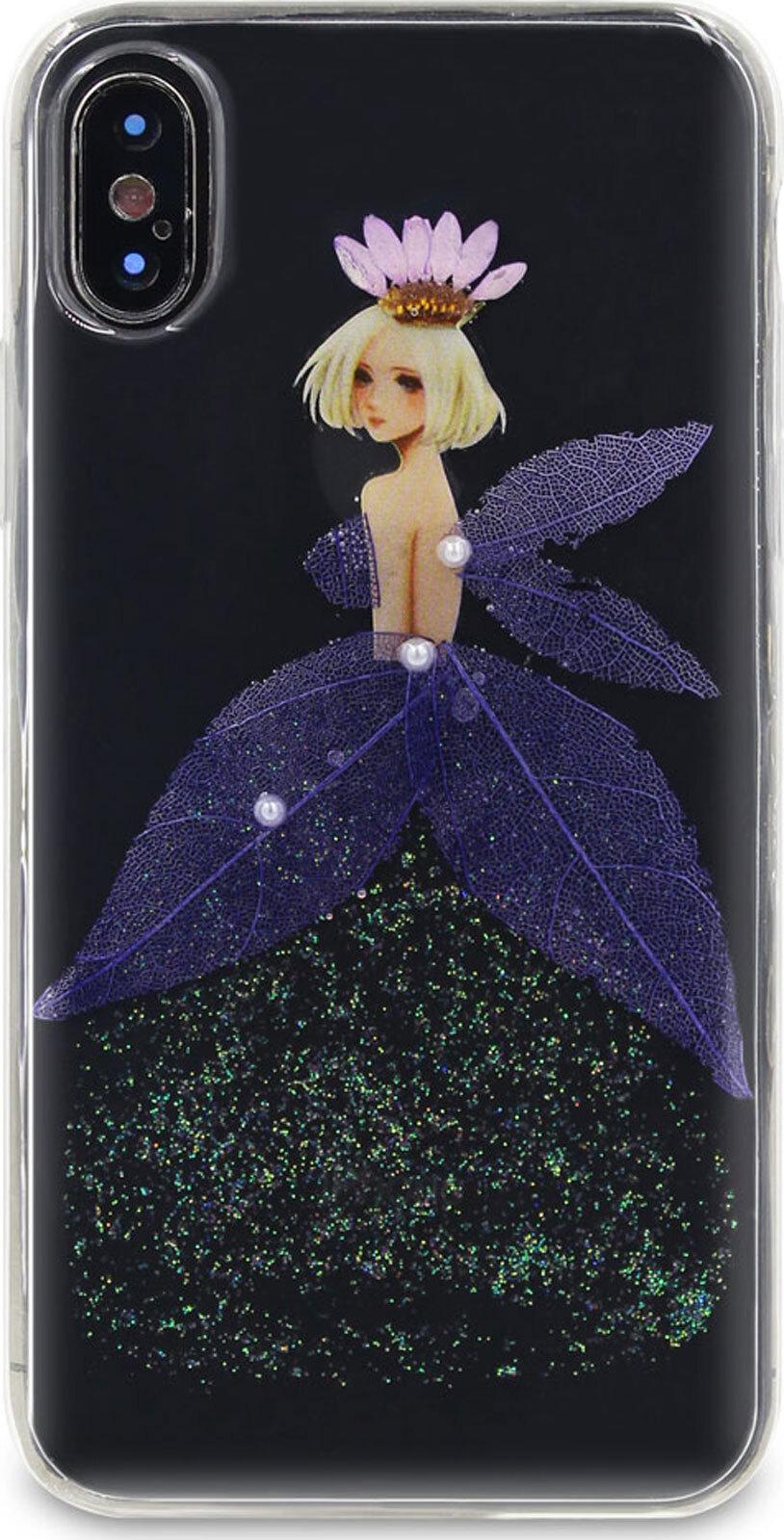 Чехол-накладка DYP Flower Case для Apple iPhone X/XS, фиолетовый flower print card case