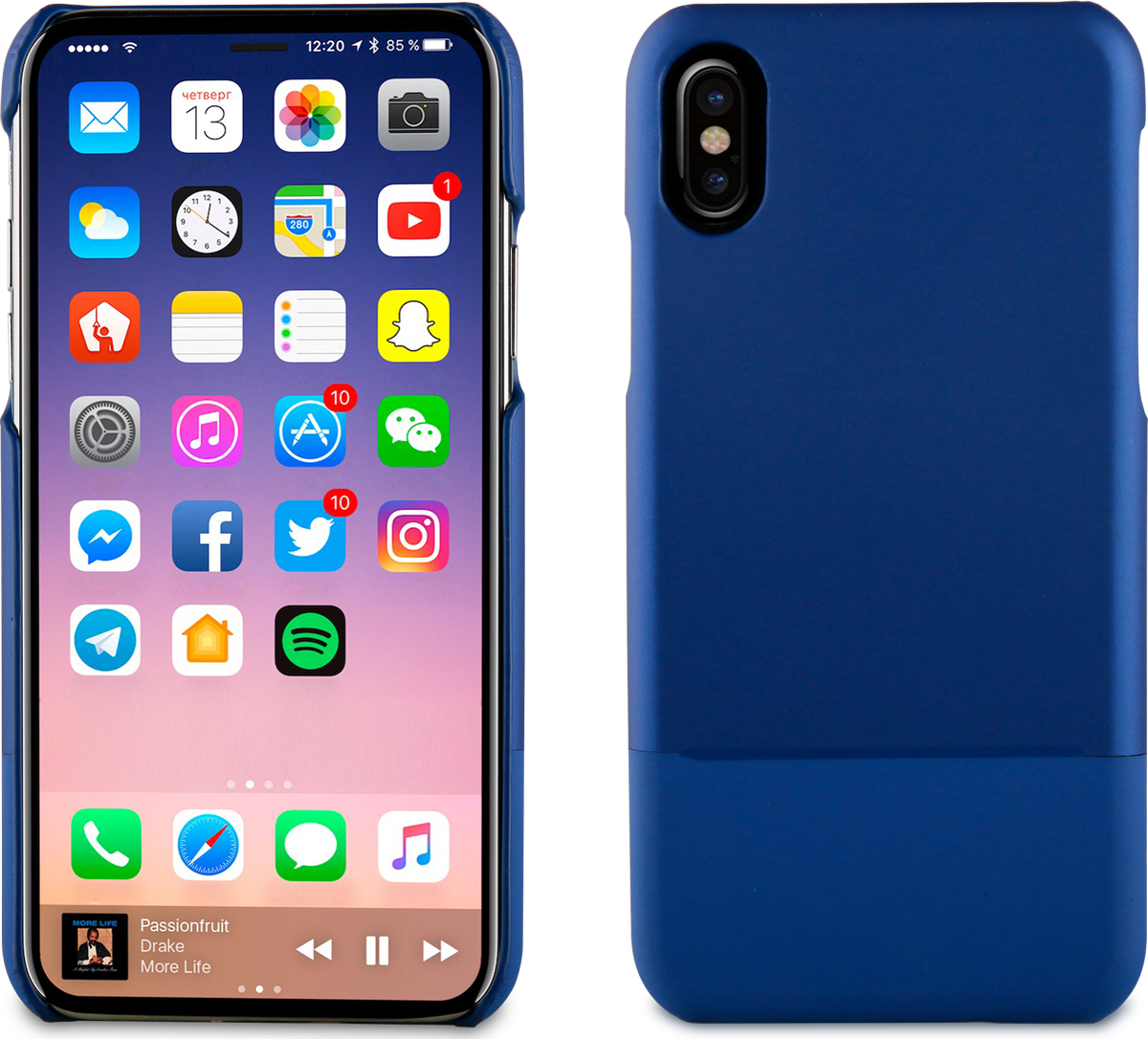 Чехол-накладка Muvit SKIN CASE для Apple iPhone X/XS, синий