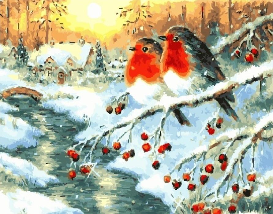 Открытки с новым годом со снегирем, стихи днем