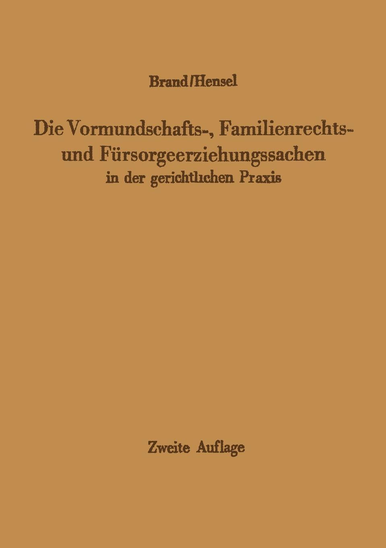 Die Vormundschafts-, Familienrechts- und Fursorgeerziehungssachen in der gerichtlichen Praxis. Arthur Brand