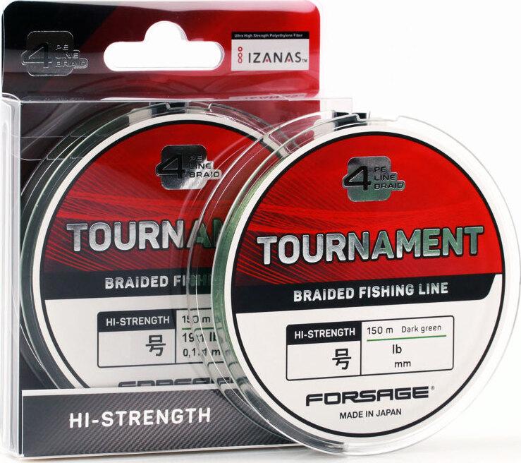 Шнур Forsage Tournament 4 Braid 150 m Dark Green # 0.6,Япония