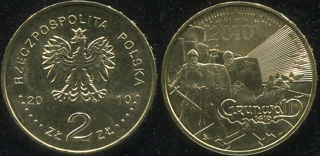 Монета. Польша 2 злотых. 2010 (KM.Y.732. Unc) Великие сражения: Грюнвальдская битва и битва при Клушине