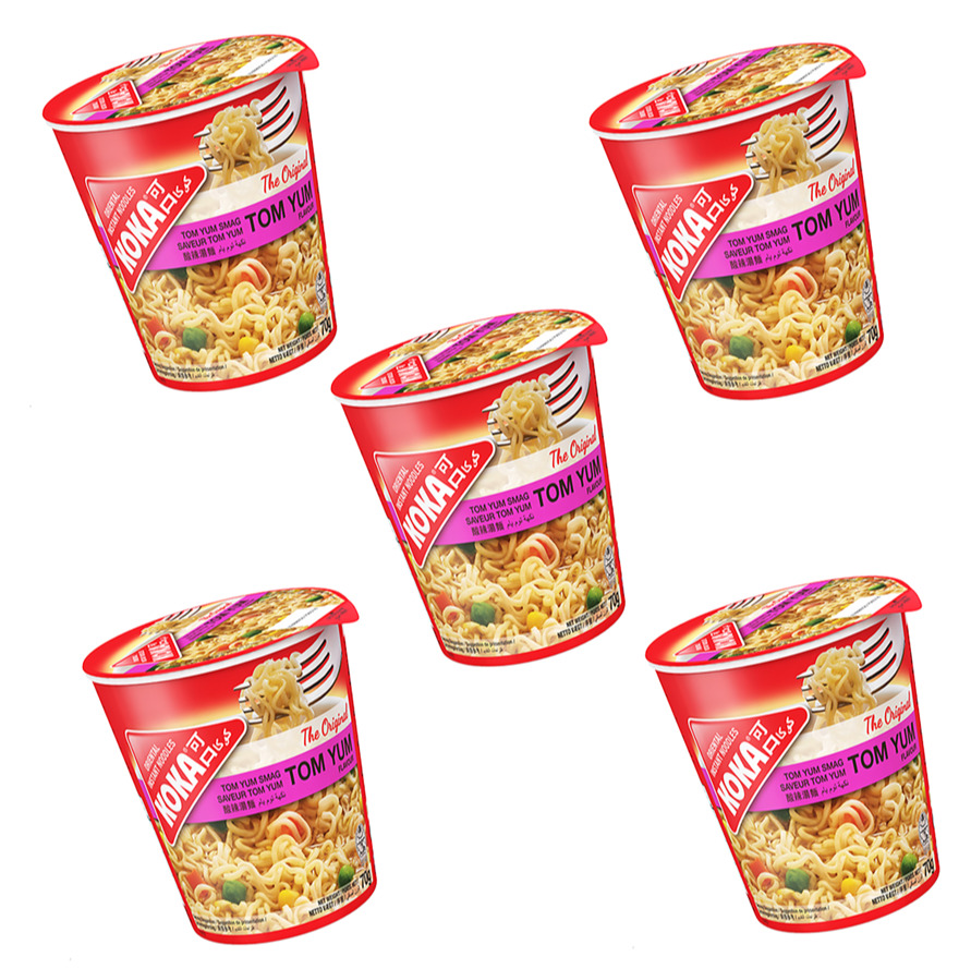 KOKA/ сингапурская лапша КОКА Original со вкусом Том Ям, стакан (5 шт. по 70 г)