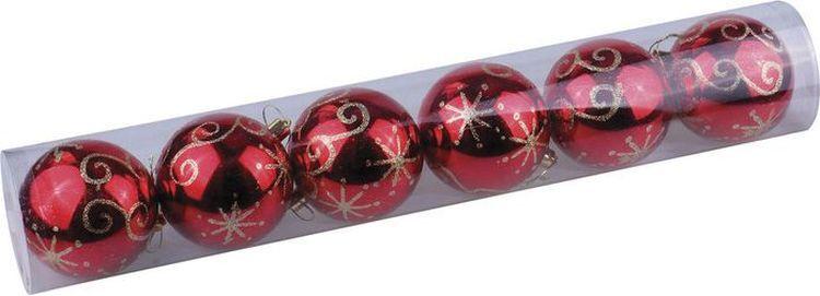Елочные шары-игрушки/новогоднее украшение, набор из 6шт, 8см, пластик, с узором, красные, глянец, Золотая #1