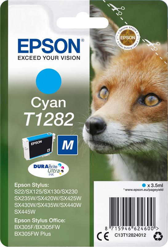 Картридж Epson для Stylus S22/SX130/SX230/SX420W/SX425W/BX305F, C13T12824012, голубой цена 2017