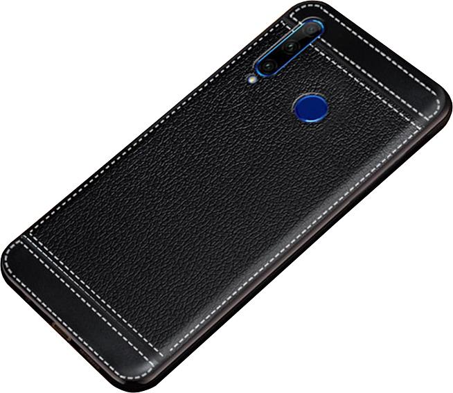 Чехол MyPads для Honor 9X (STK-LX1)/ Huawei Honor 9X Premium / Honor 9X (Russia) из качественного износостойкого силикона с декоративным дизайном под кожу с тиснением черный