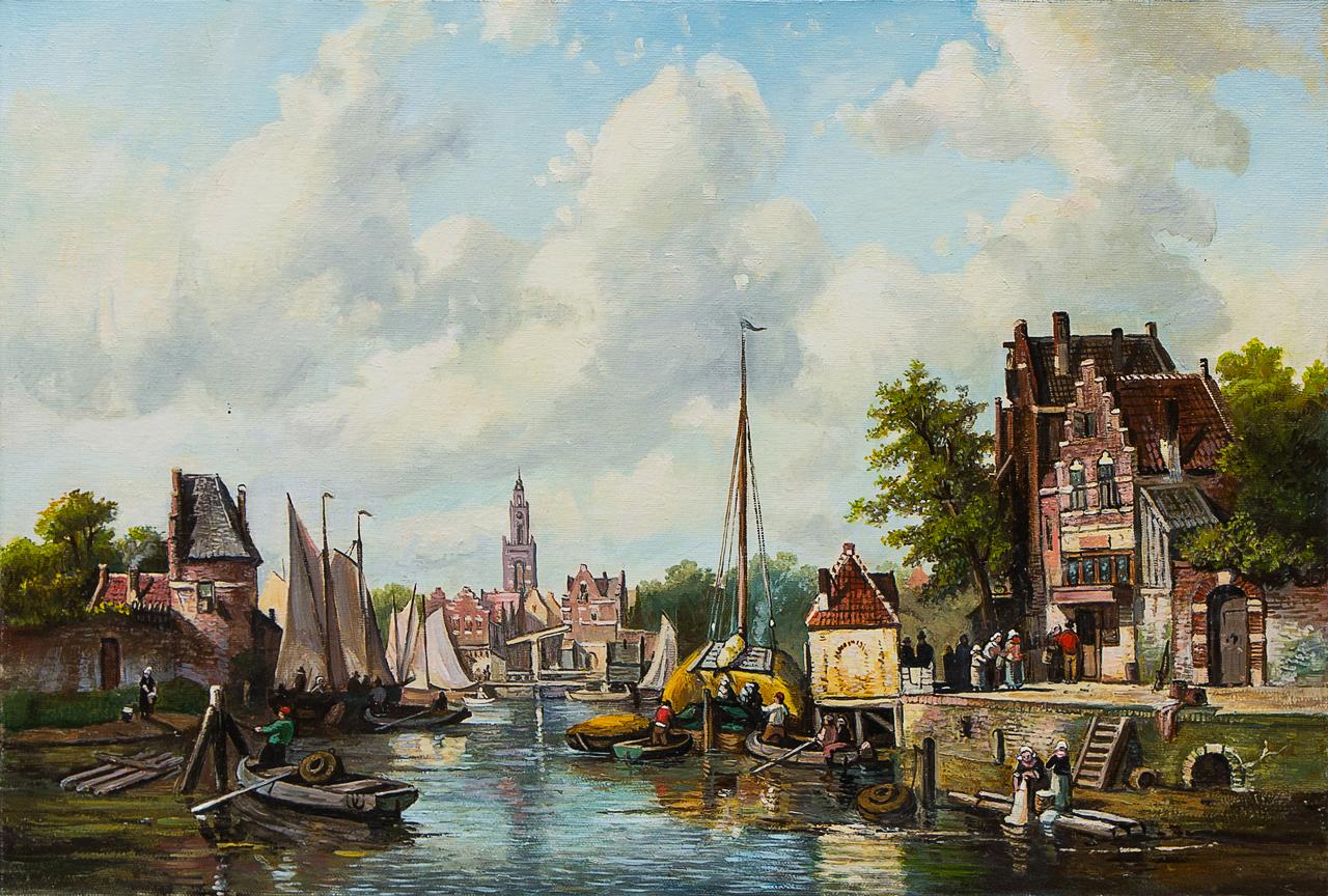 Картина маслом Голландский пейзаж с рекой Воробьёв картина маслом гуляки воробьёв
