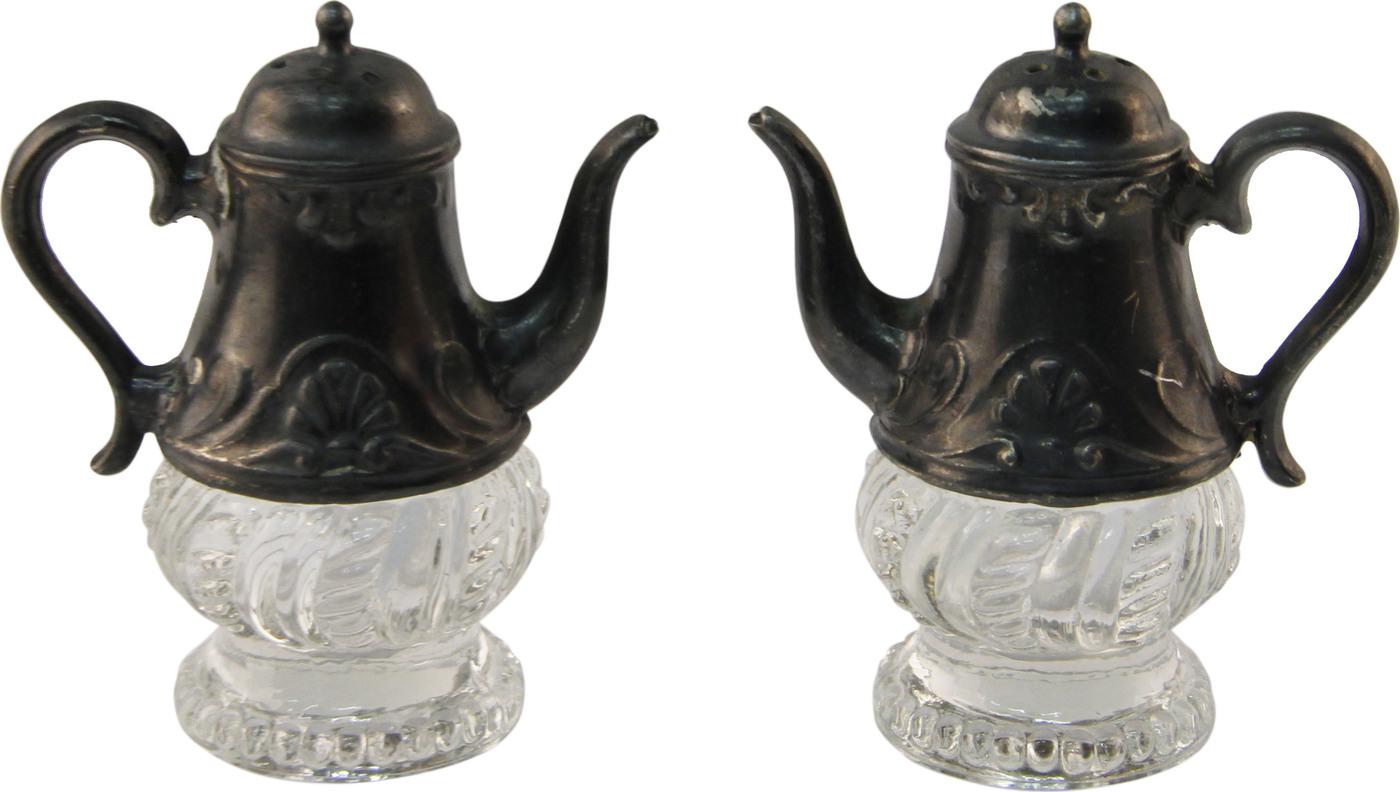 Набор для соли и перца Миниатюрные чайники. Металл, стекло. США, конец ХХ века.