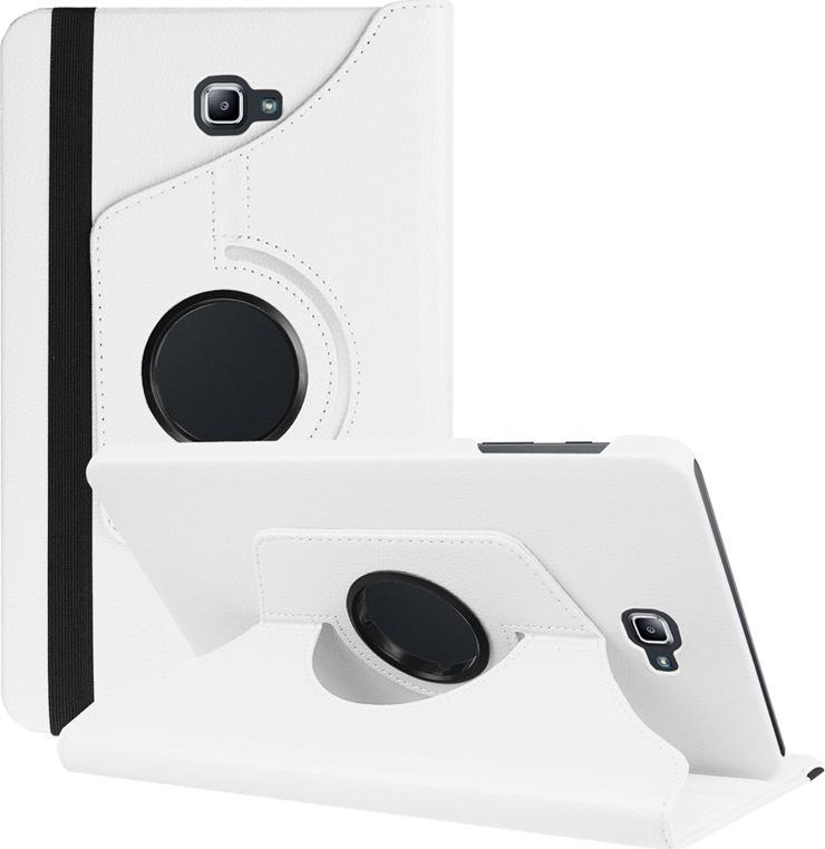 Чехол-подставка MyPads для Samsung Galaxy Tab A 10.1 2016 SM-T580 / T585C / T585N на пластиковой основе кожаный поворотный роторный оборотный с трансформацией в подставку белый