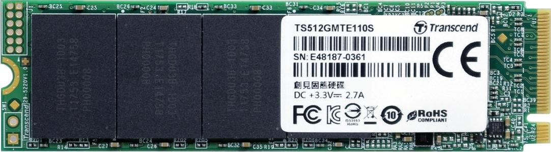 SSD-Накопитель  Transcend  512GB  MTE110S, PCIe 3.0 x4, R/W - 1500/1800 MB/s, (M.2), 2280, 3D TLC NAND