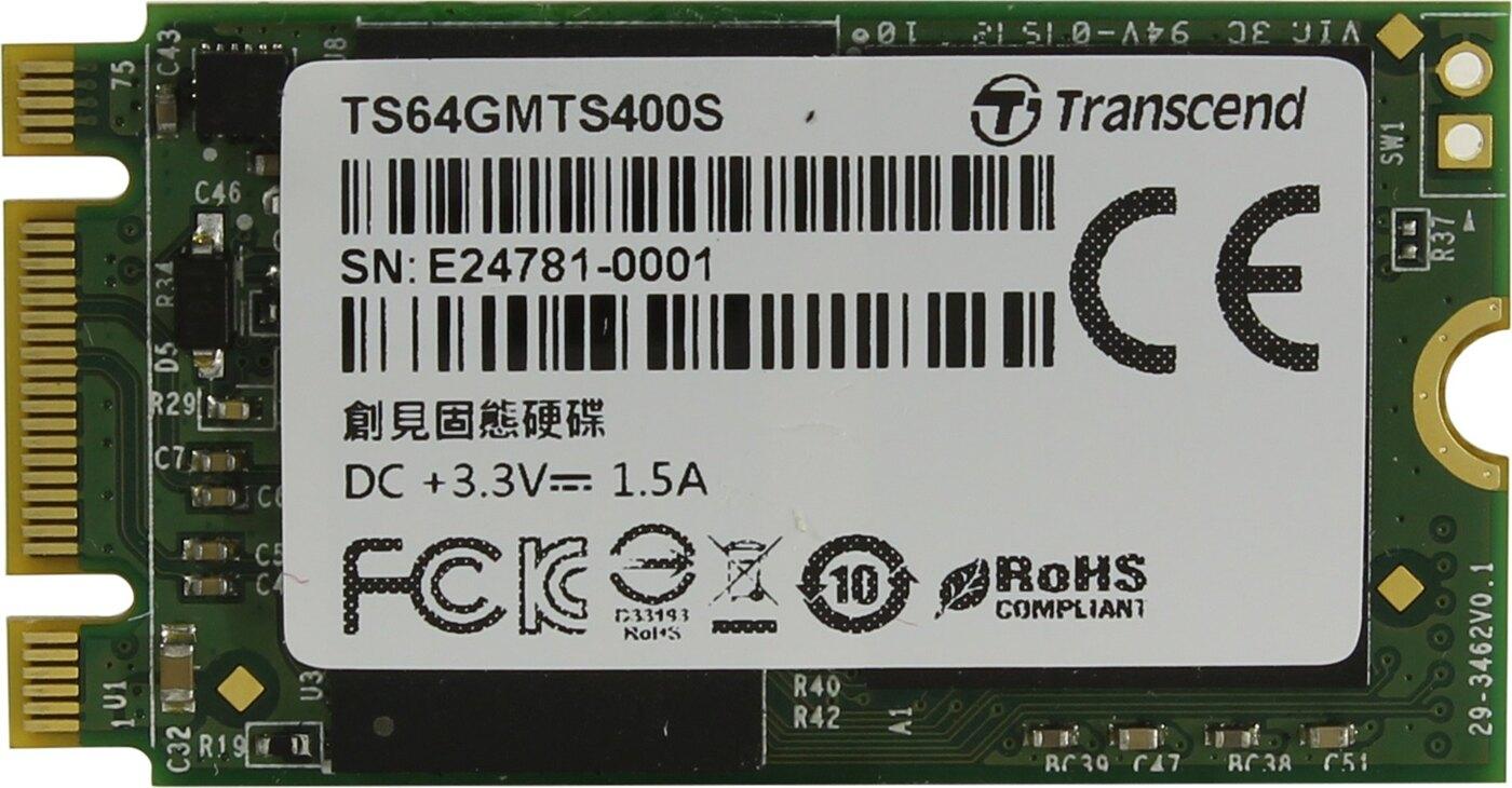 SSD-Накопитель  Transcend   64GB  MTS400S, SATA-III R/W - 460/560 MB/s, (M.2), 2280, MLC