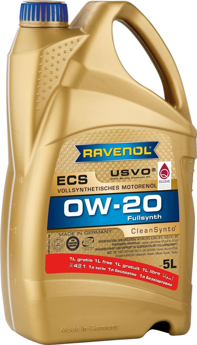 Моторное масло RAVENOL ECS EcoSynth SAE 0W-20 (4+1 л)