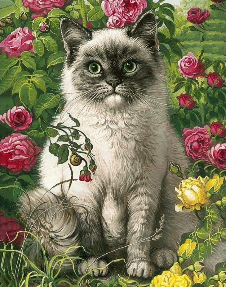 Животные с цветами на открытку