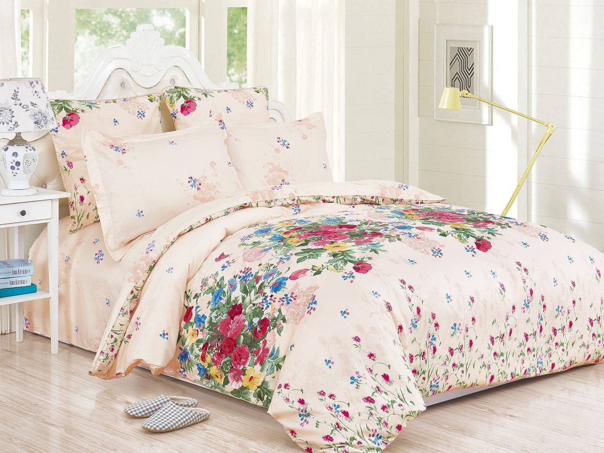 Комплект постельного белья Cleo Satin de' Luxe Надежда, 20/536-SK, светло-бежевый, 2-спальный, наволочки 70x70