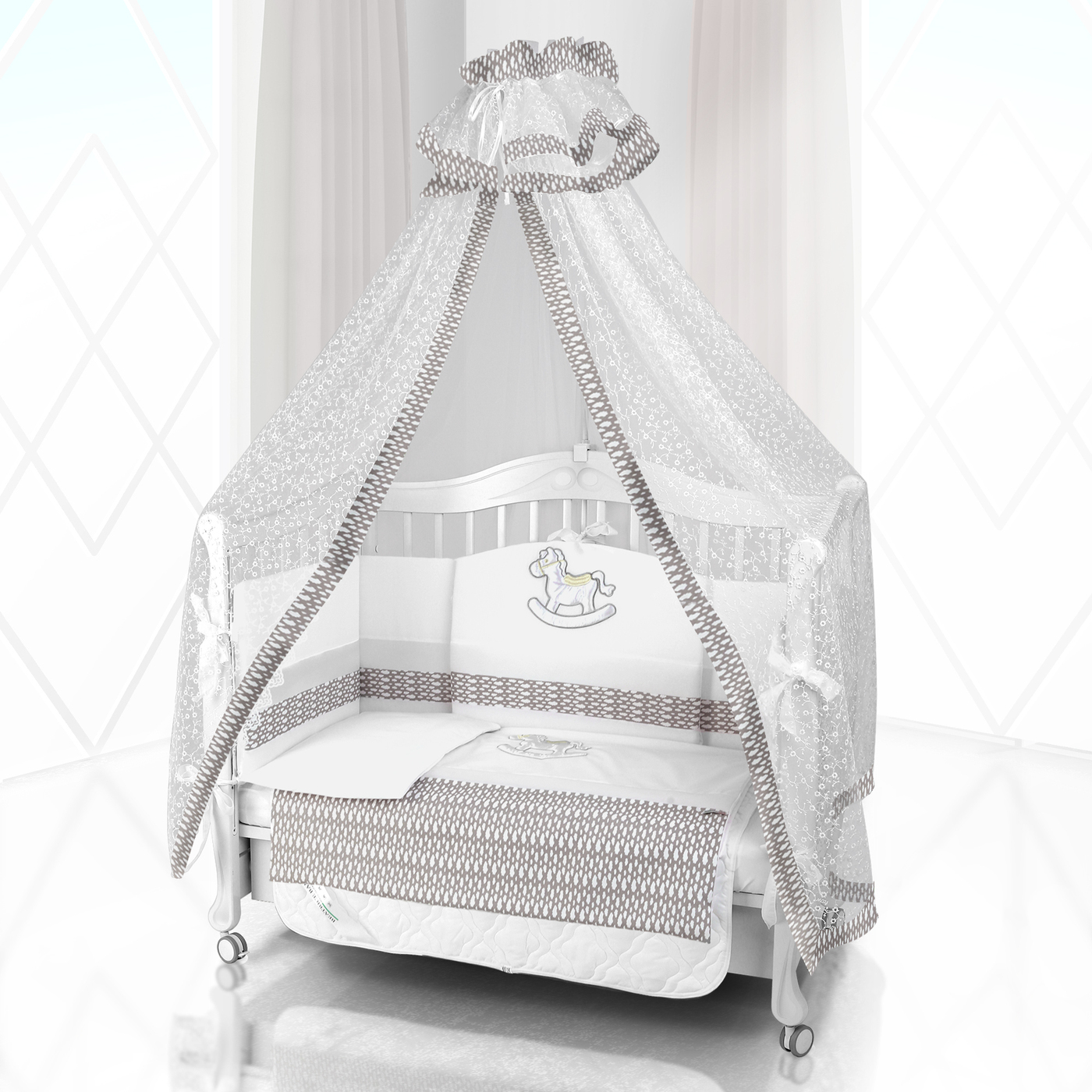 Комплект постельного белья Beatrice Bambini Unico IL Cavallo Nuvole (125х65) - bianco& grigio