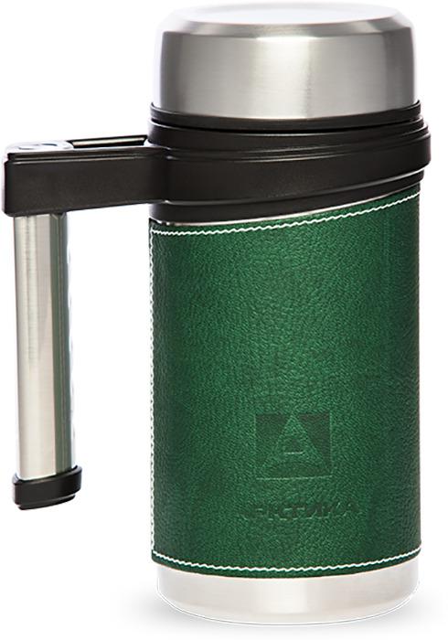 Термос-кружка Арктика 0,5л (с ручкой в коже) зеленый
