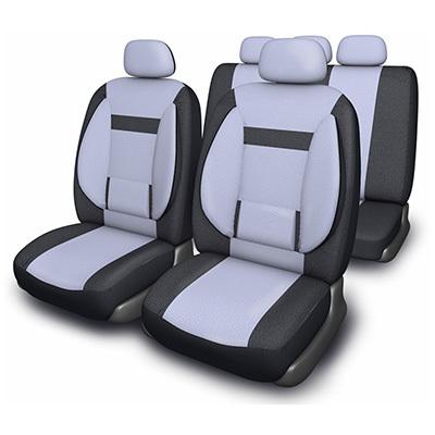 Чехлы автомобильные SKYWAY Protect Plus - 1 велюр/сетка 11 предметов черно/серый