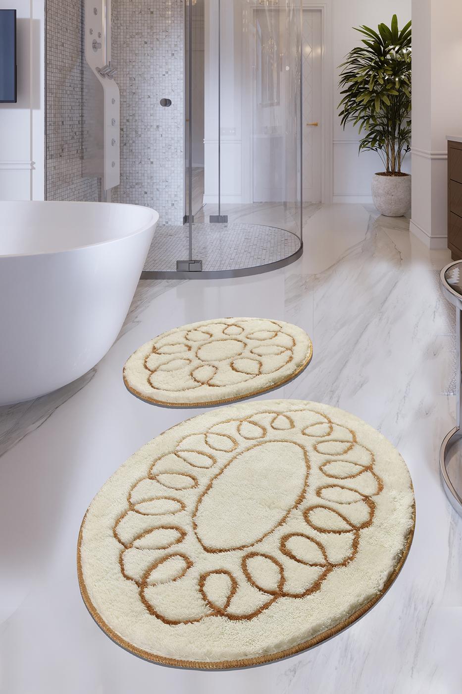 Набор противоскользящих ковриков для ванной Buffer, Safir Ekru 2'Li Set 60x100 см - 50x60 см