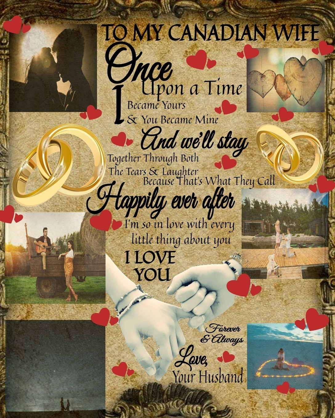 Scarlette Heart. To My Canada Wife Once Upon A Time I Became Yours & You Became Mine And We'll Stay Together Through Both The Tears & Laughter. 100 Reasons Why I Love You Fill In The Blank - Paperback Black Lines Composition  Notepad To Write In Prayer For Your Hu...