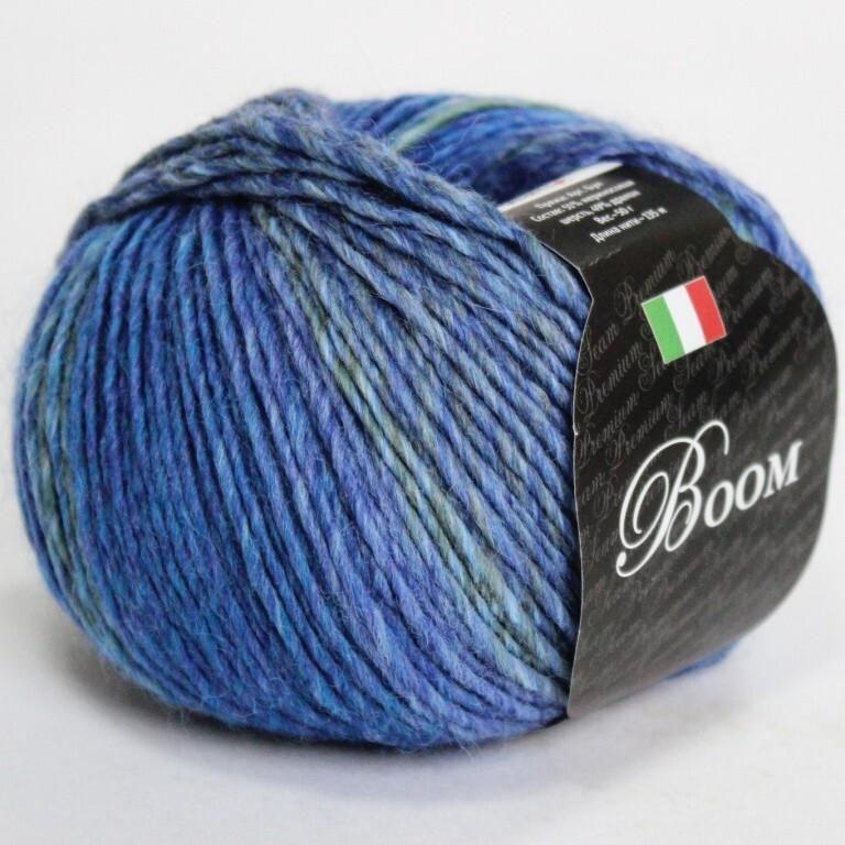 Пряжа Boom Seam цвет 63187 лазурь, 2шт*(135м/50г), 51% мериносовая шерсть 49% дралон