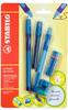 Набор STABILO LeftRigth: ручка + карандаш + ластик + точилка + грифели, для левшей, для обучения письму, голубой - изображение