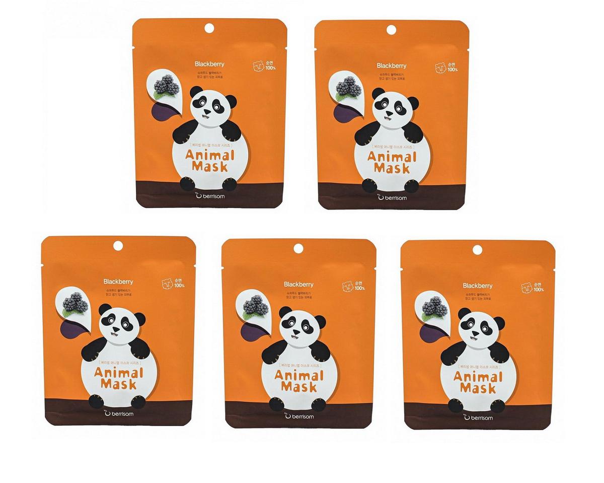 Berrisom Маска тканевая для лица с экстрактом ежевики (Панда) Animal Mask Series Sheep, 25 мл (Набор #1