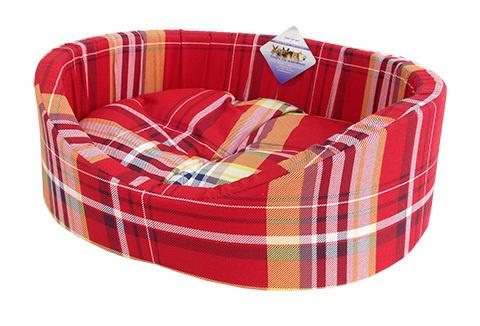 Мягкий лежак Лежак для собак с бортиком № 9, шотландка красная, 105 х 69 х 24 см  #1