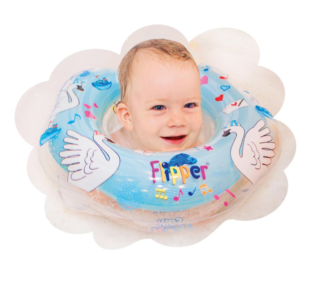 """Музыкальный круг на шею для купания малышей Flipper """"Лебединое озеро"""" от ROXY-KIDS, цвет голубой  #1"""