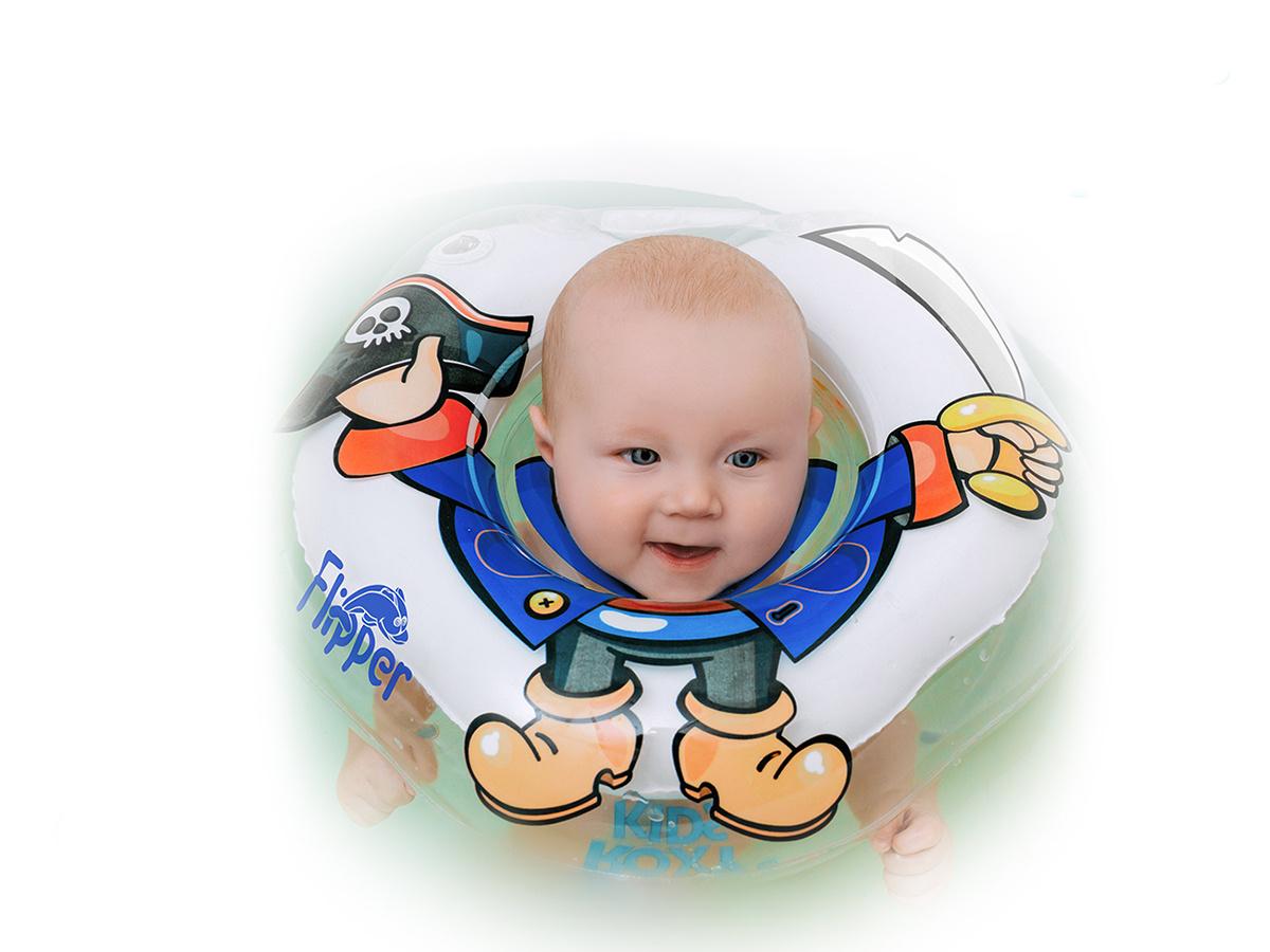 Круг надувной на шею для купания новорожденных и малышей Flipper Пират от ROXY-KIDS  #1