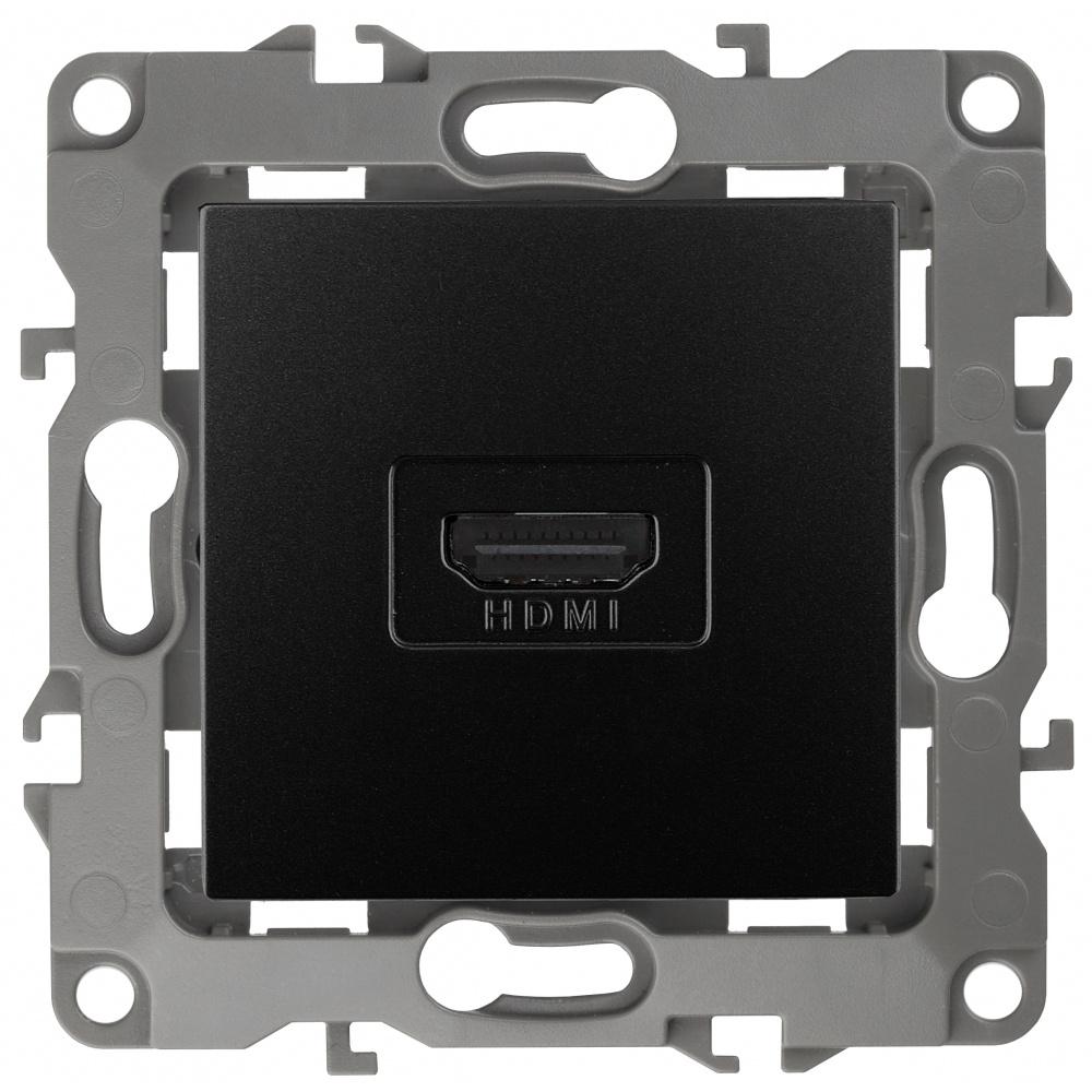 Розетка HDMI Эра 12 12-3114-05 скрытой установки механизм антрацит  #1
