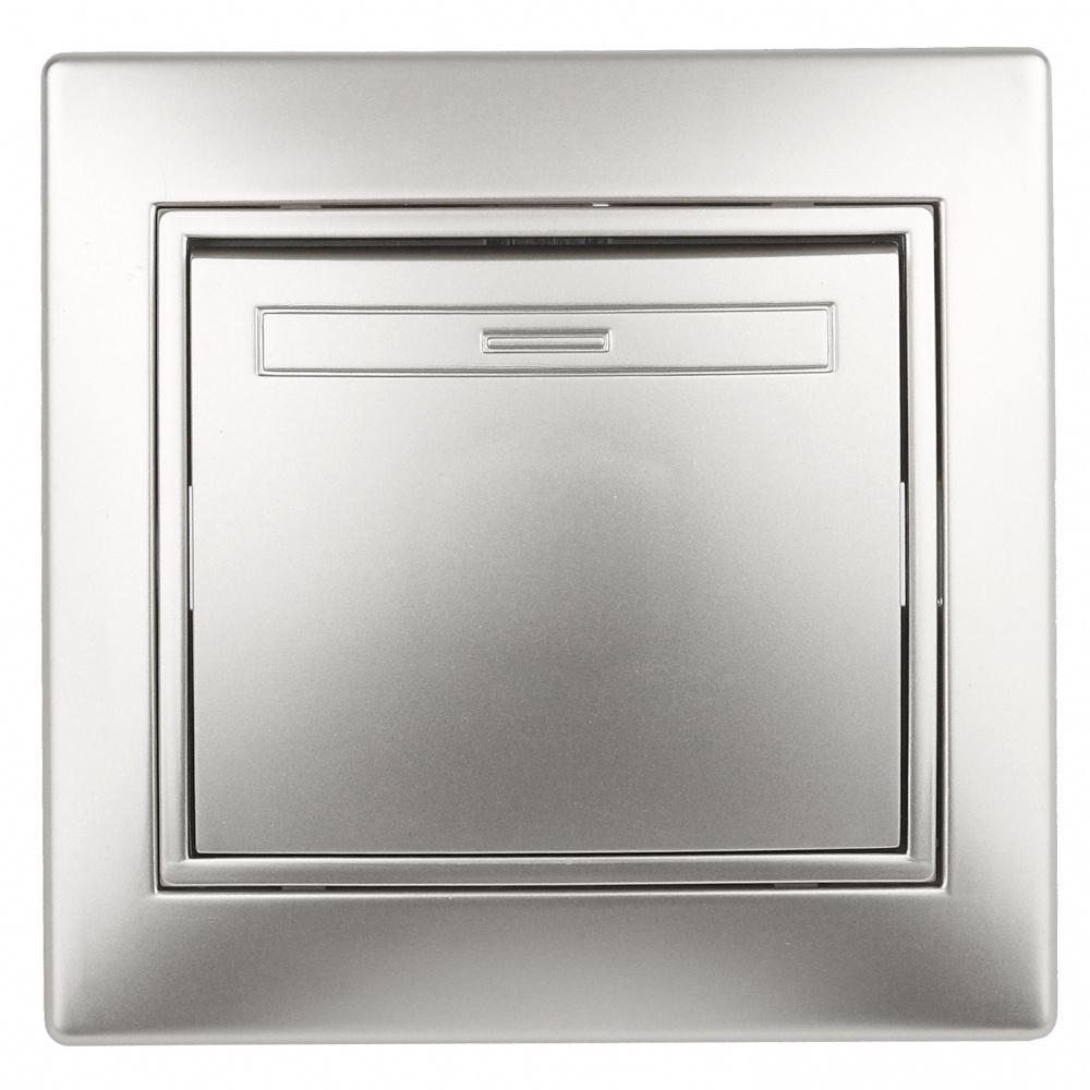 Выключатель одноклавишный Intro Plano 1-101-03 скрытой установки 10А 250В алюминий  #1