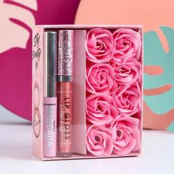 Подарочный набор Stay beauty (тушь для ресниц, блеск для губ и мыльные лепестки). Выбираем подарки для любимых женщин!