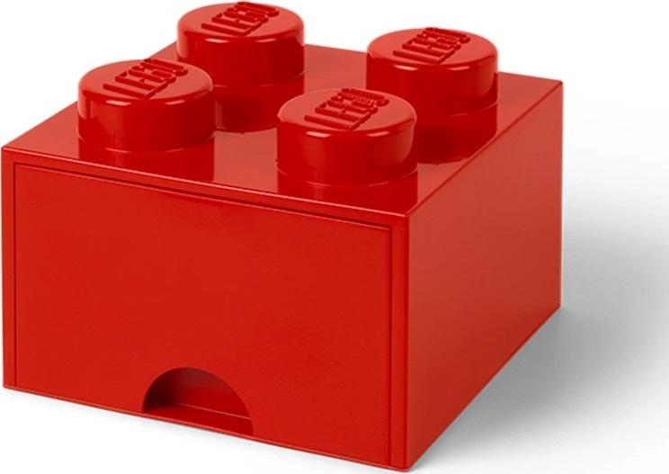 Ящик для хранения 4 выдвижной LEGO красный