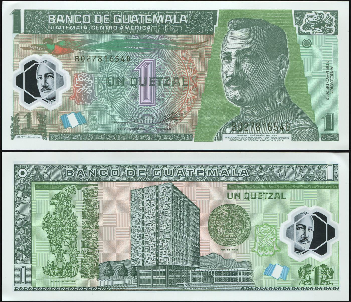 Банкнота. Гватемала 1 кетцаль. 02.05.2012 Пластик UNC. Кат.P.115b купюра 5 кетцаль гватемала 2008 год