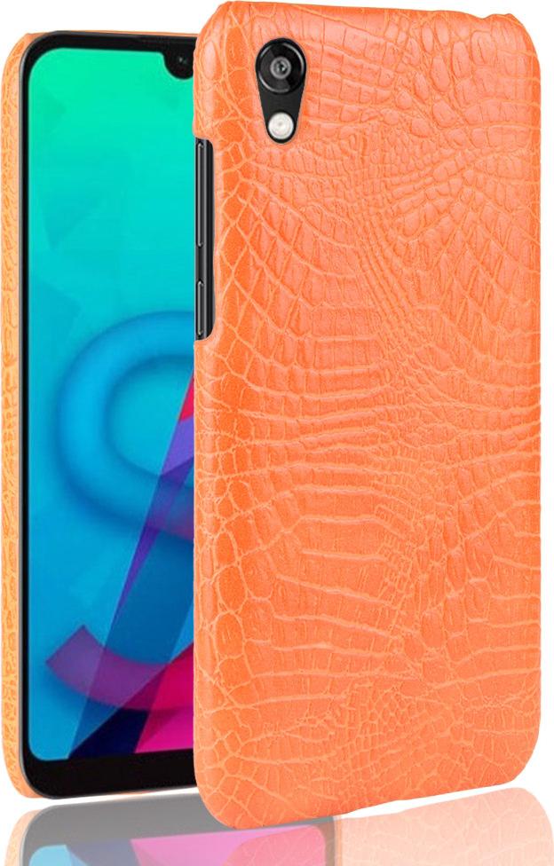 Чехол-панель Mypads для Huawei Y5 2019/Huawei Honor 8S тонкий задний бампер на пластиковой основе с отделкой под кожу крокодила оранжевый