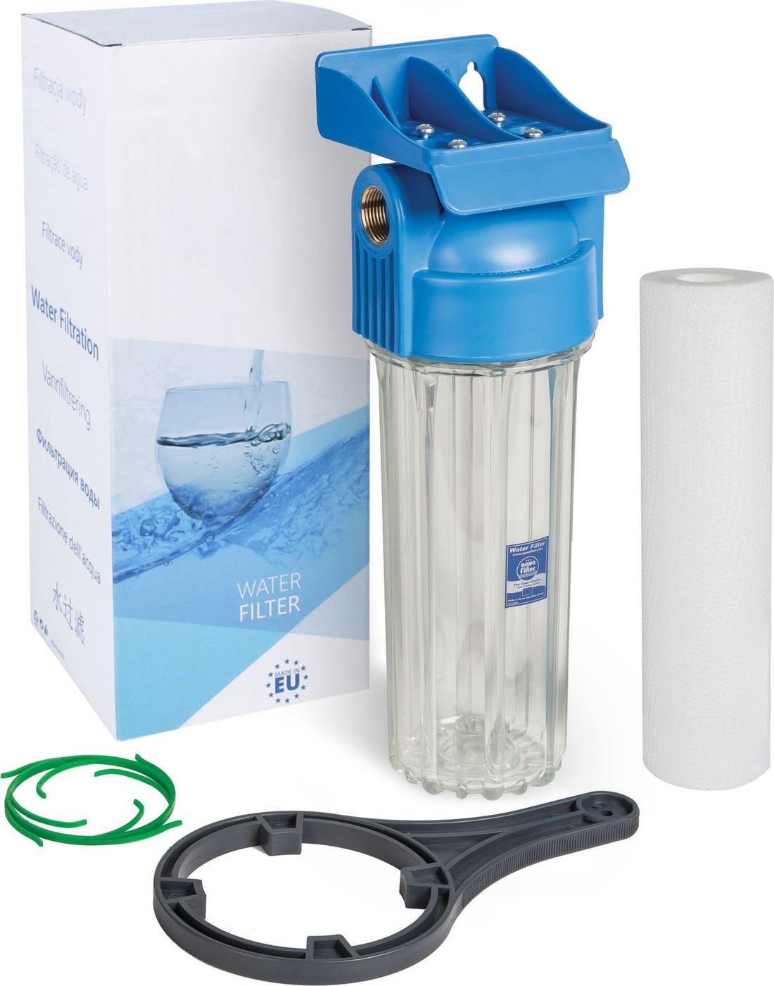 Магистральный фильтр для холодной воды с картриджем 10SL, резьба 3/4, серия 10 атм, Aquafilter FHPR34-HP1, 546