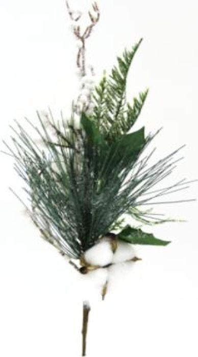 Ветка декоративная новогодняя, DN-53019, зеленый, высота 37 см