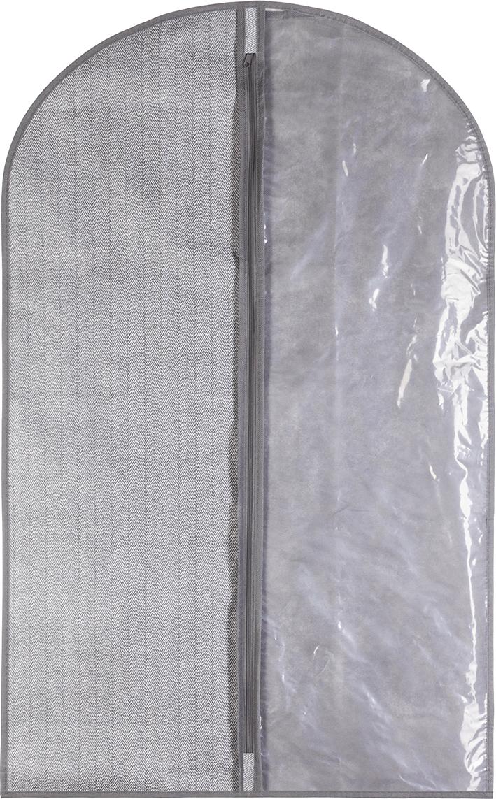 Чехол для одежды подвесной 60х90 см EL Casa Твид на молнии с прозрачной вставкой справа