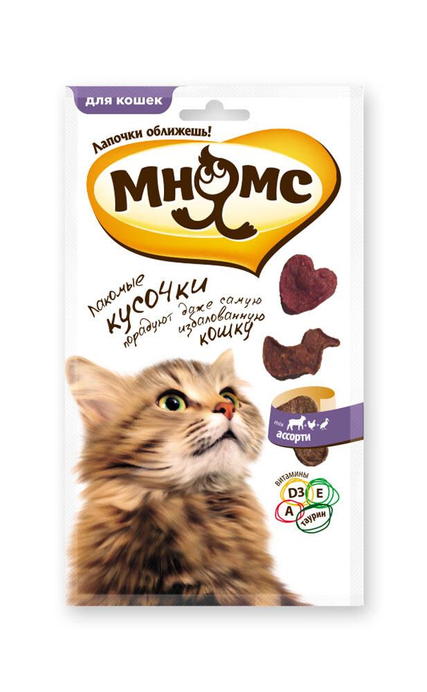 Лакомство для кошек Мнямс мясное ассорти, лакомые кусочки, курица, ягненок, утка, 35 гр