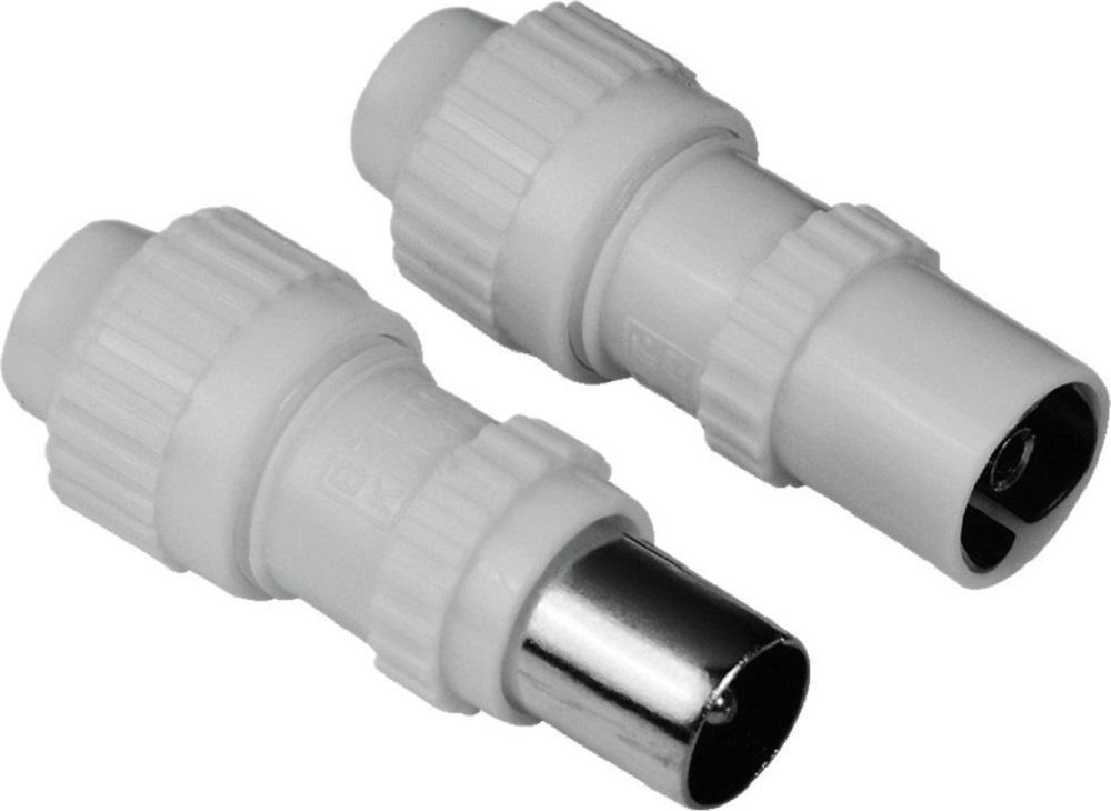Набор Hama 43942 the smart solution  штекеров антенных коаксиальных (f) + (m) 5-7 мм винтовые, белый.