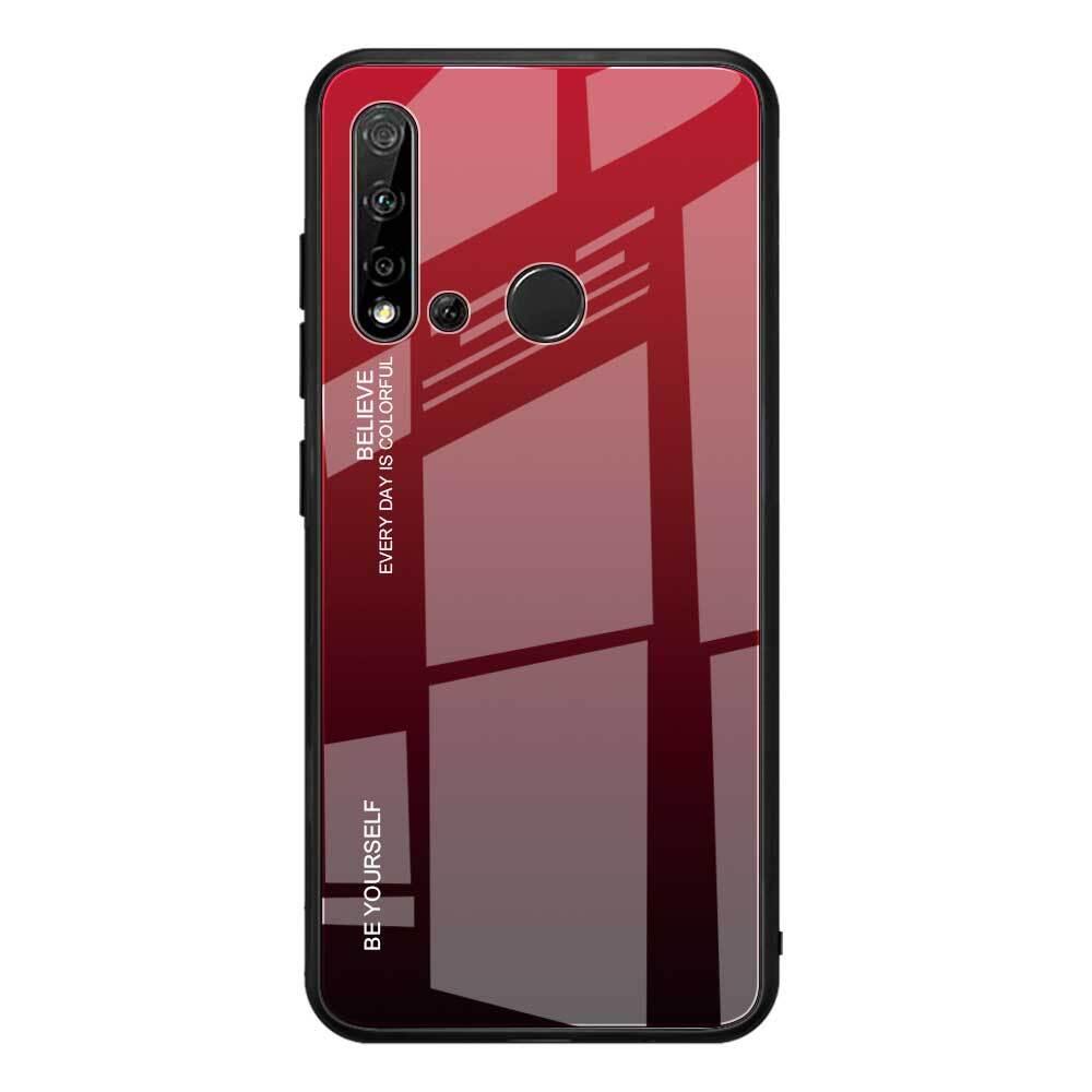 Чехол-бампер MyPads для Huawei Honor 10i / Enjoy 9S / P Smart Plus 2019  стеклянный из закаленного стекла с эффектом градиент зеркальный блестящий переливающийся красный