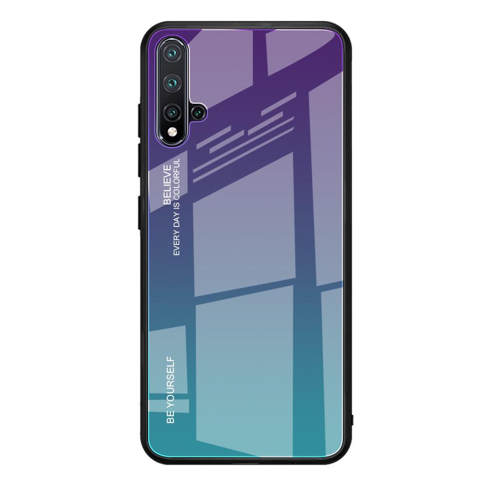 Чехол-бампер MyPads для Huawei Y5 2019/ Huawei Honor 8S стеклянный из закаленного стекла с эффектом градиент зеркальный блестящий переливающийся фиолетовый