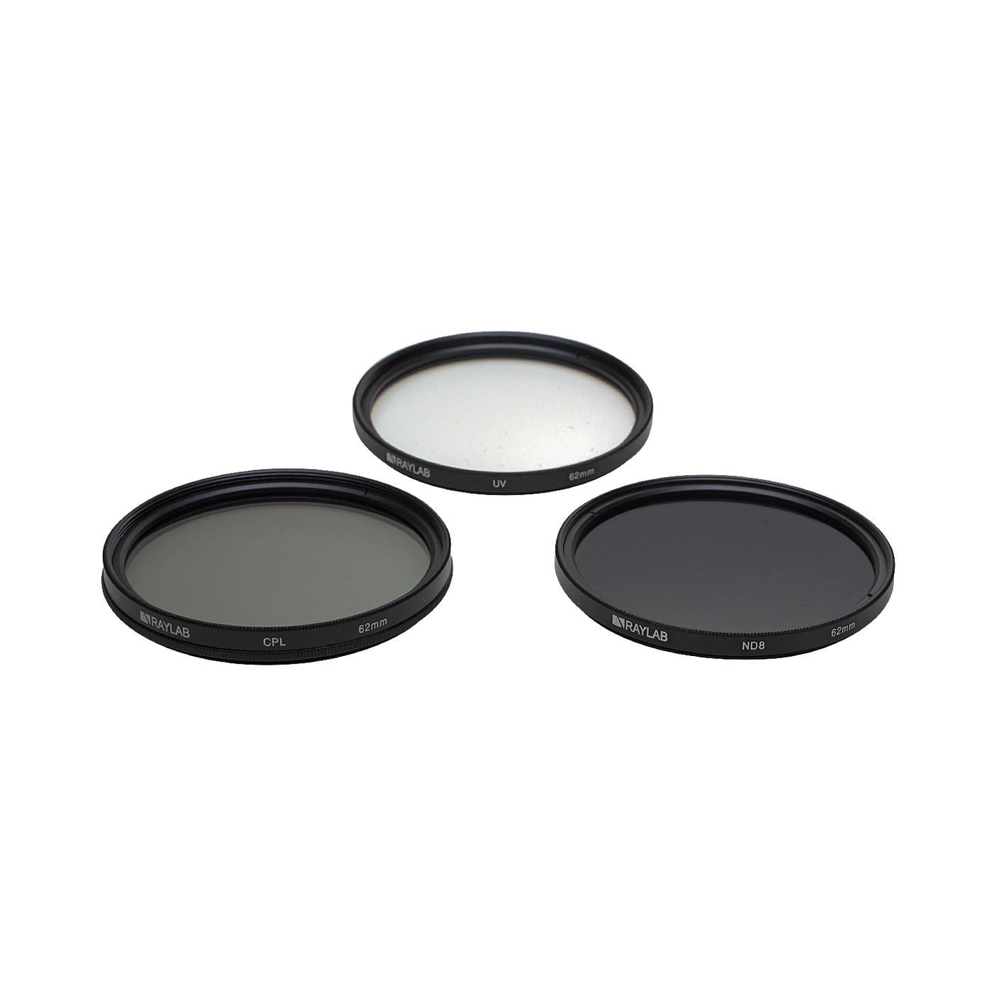 Набор из 3 фильтров RayLab (UV,CPL,ND8) 62mm