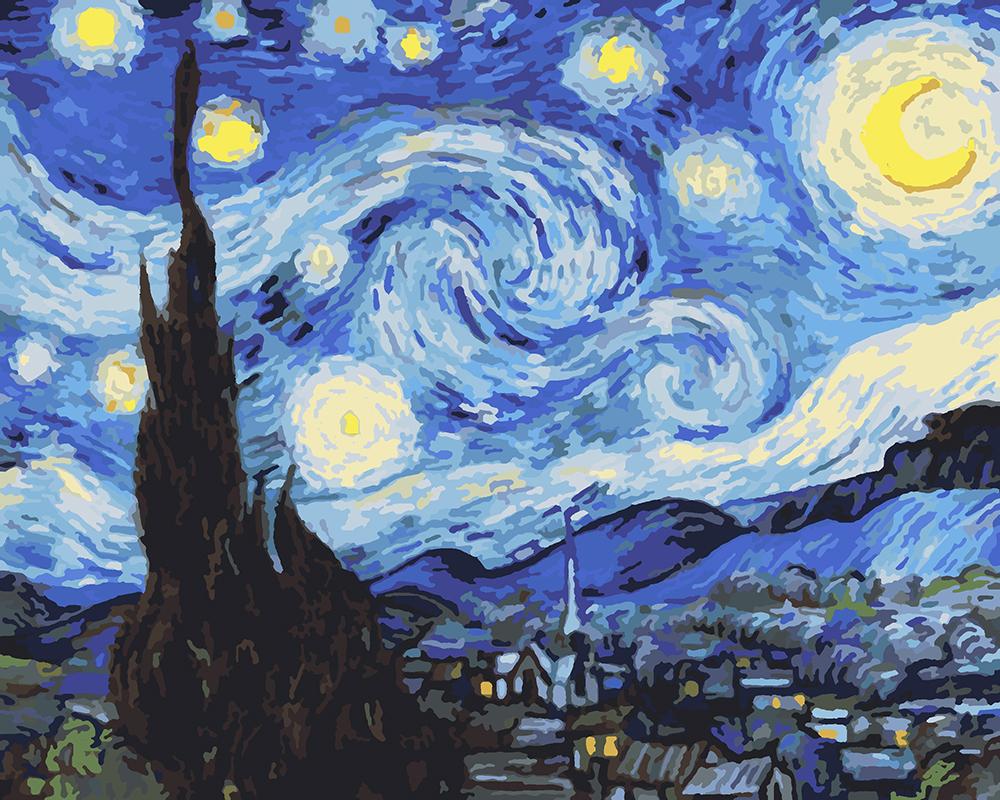 Картина по номерам Ван Гог - Звездная Ночь, 40 х 50 см ...