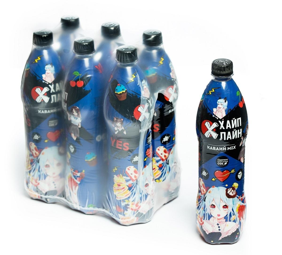 """Газированный напиток Хайплайн, """"Каваий MIX"""", 6 штук по 0,85 л"""