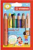 Набор STABILO Woody 3 в 1: карандаш + акварель + восковой мелок, утолщенные, 6 цветов - изображение